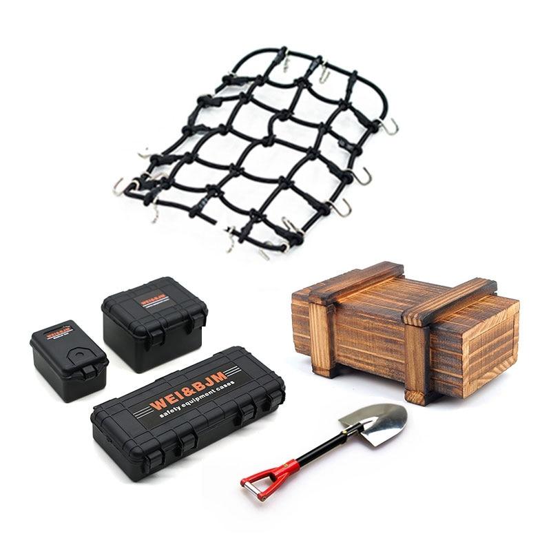 6PCS/Set Simulated Decoration Suitcase Luggage Net Shovel For TRX4 Defender SCX10 90046 90047 MST Jimny VS4 RC Car Accessories