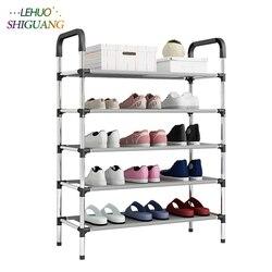 Nova chegada não tecidos várias camadas de sapato rack com corrimão fácil montado prateleira armazenamento organizador suporte manter o quarto limpo