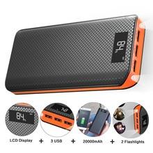 Banco de potência 20000 mah powerbank 3 usb bateria externa para iphone x xr 11 11pro ipad samsung s20 xiaomi 9pro.