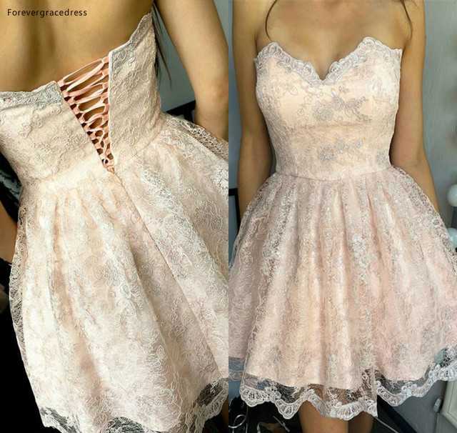 2019 Cheap Blush Pink Lace Short Cocktail Dress A Line Sweetheart Juniors Sweet 15 Graduation Party Dress Plus Size