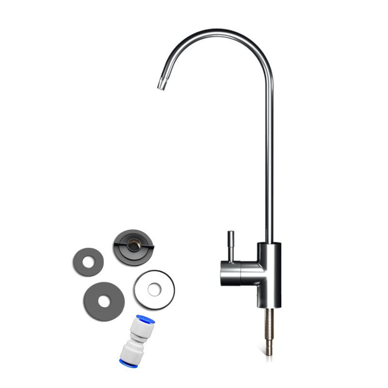 1set Kitchen Water Filter Faucet Chrome Plated 1/4 Inch Connect Hose Reverse Osmosis Filters Parts Purifier Direct Drinking Tap