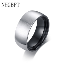 NHGBFT 8mm Brushed black color ring for mens black stainless steel Punk style Alliance Jewelry nhgbft punk style tire spinner chain rings for mens stainless steel black color biker ring male jewelry