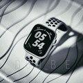 Ремешок спортивный для Apple Watch Band 6 SE 5 4 44 мм 40 мм, силиконовый Воздухопроницаемый браслет для iWatch Watch Series 54321 38 мм 42 мм