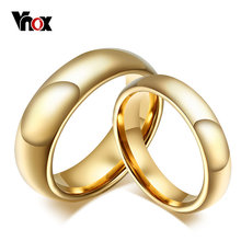 Vnox 6mm/8mm Tungsten Carbide Wedding Ring for Women / Men Classic Gold-color(China)