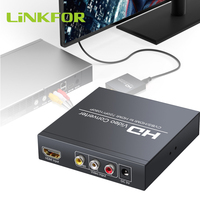 LiNKFOR 1080p AV+HDMI TO HDMI With 3.5mm Headphone and Coaxial Stereo Audio Support CVBS Signal With 1.5M AV cable for DVD PS3