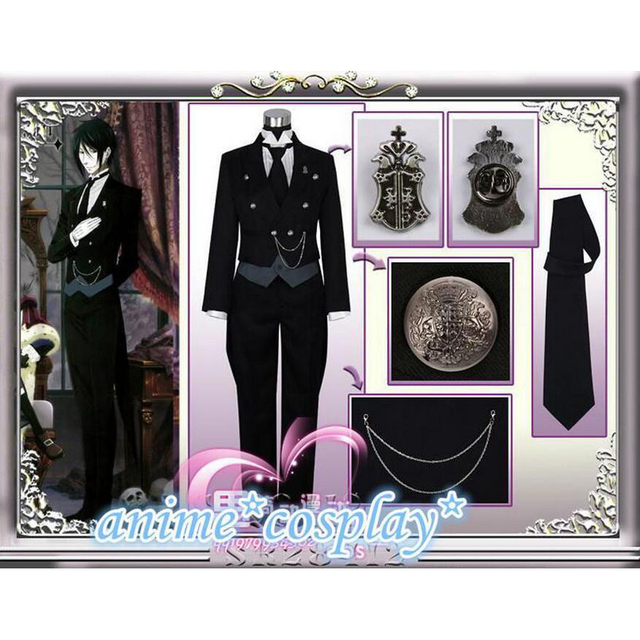 Disfraz de Anime Black Butler 2 Kuroshitsuji Sebastian Michaelis, uniforme Unisex