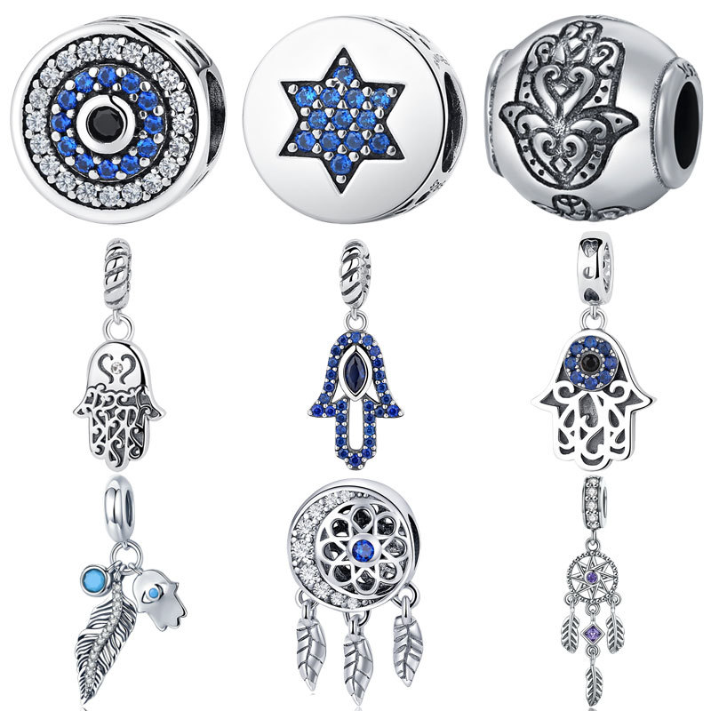 Authentic 925 <font><b>Sterling</b></font> <font><b>Silver</b></font> Beads Blue Eyes Fatima Hamsa Hand Charm Beads fit Original <font><b>PAN</b></font> Charm <font><b>Bracelet</b></font> DIY Jewelry image