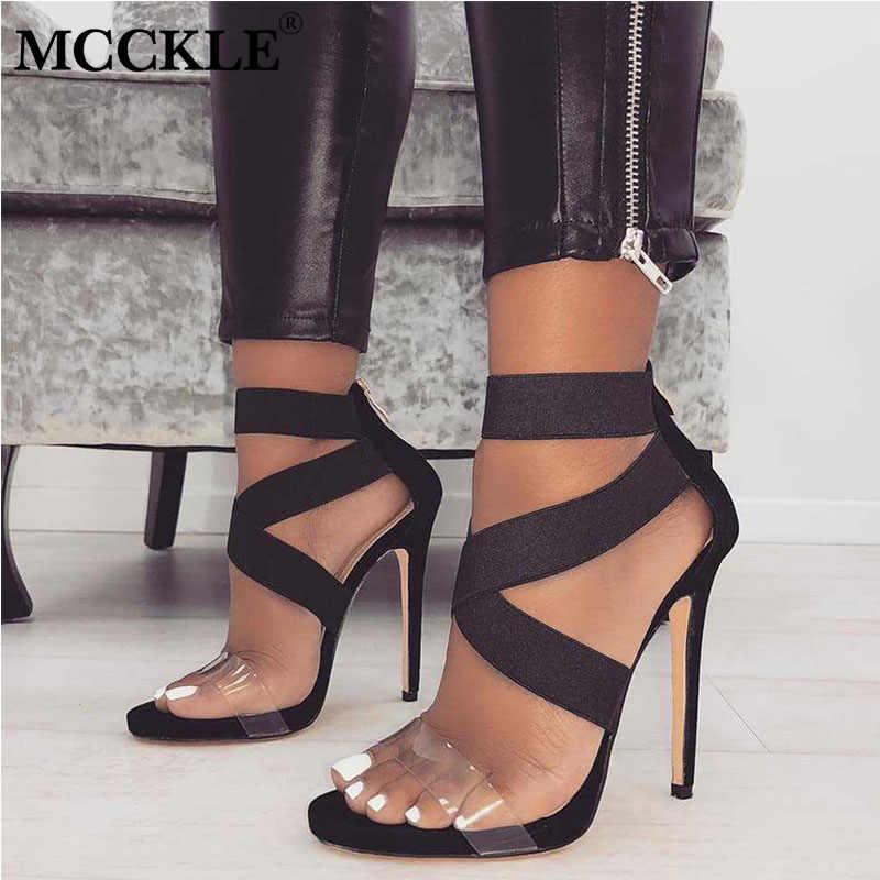 MCCKLE kadın yaz sandalet moda çapraz bağlı bayanlar streç kumaş yüksek topuklu kadın yılan desen açık ayak kadın ayakkabı 2020