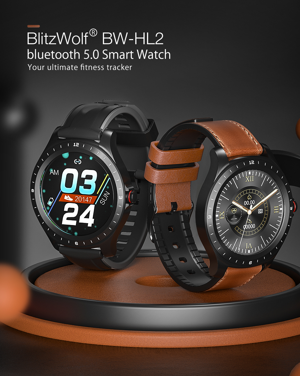 [ bluetooth 5.0 ] blitzwolf bw-hl2 smart watch 1.3' full round touch screen heart rate blood pressure o2 monitor ip68 smartwatch