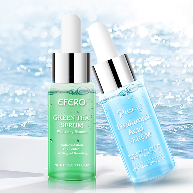 EFERO Hyaluronic Acid Serum Anti Aging Green Tea Essence Moisturizing Face Serum Acne Treatment Skin Care Whitening Face Cream