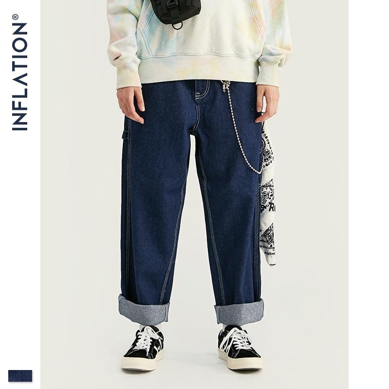 INFLATION Men Jeans Loose Fit Straight Jeans In Blue  Classic 2019 Jeans Male Denim Jeans Casual Streetwear Men Jeans 93417W