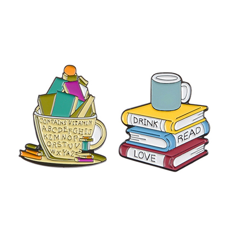 Books And Cup Enamel Pins Drink Read Love Coffee Brooches Reader Bookworm Badges Funny Cartoon Jewelry Gift(China)