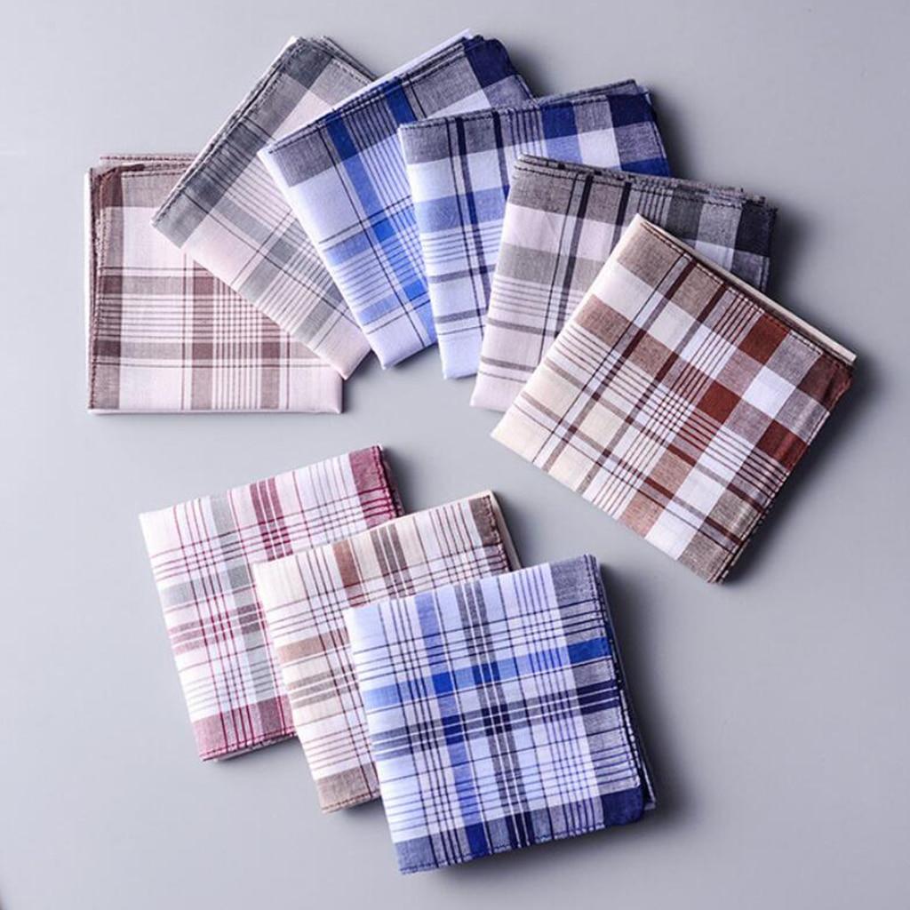 10pcs 100% Cotton Handkerchiefs With Stripe Hankies Classic Plaid Handkerchief Pocket For Women Men