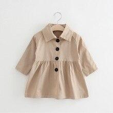 цена на Kids Windbreaker Spring Autumn Girls Jacket Long Coat Children Overcoat Outerwear Fashion Baby Girl Clothes 2 3 4 5 6 7 Years
