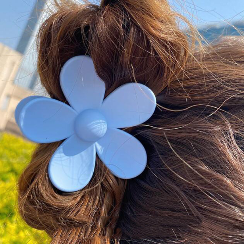 2020 Fashion Big Blue Flower Plastic Hair Claws Pink Acrylic Hair Clip Claw Hairdressing Tool Hair Accessories for Women party