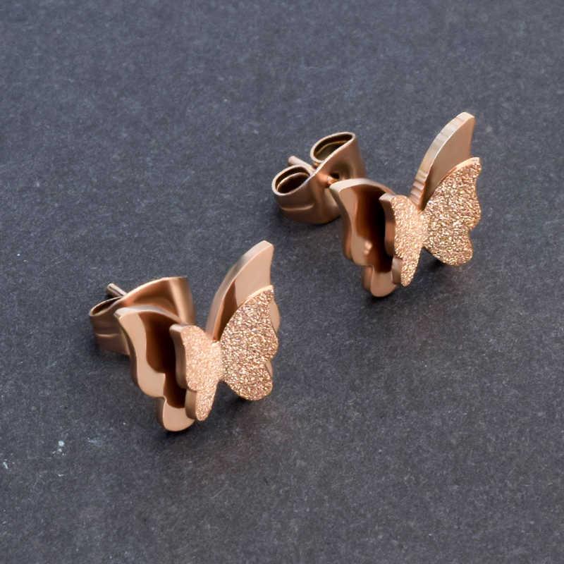 SOITIS Lady Butterfly stadniny kolczyki biżuteria ucha prezent dla dziewczyn wodoodporna stal nierdzewna śliczne kolczyki dla kobiet