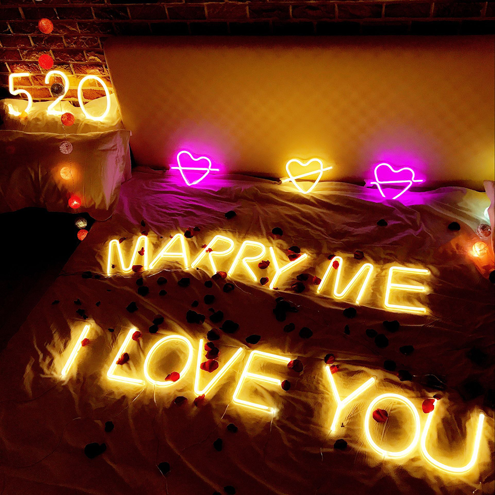 LED Neon Alphabet Night Light 26 Letters Number Sign DIY Wall Hanging Night Lamp For Christmas Romantic Wedding Birthday Party
