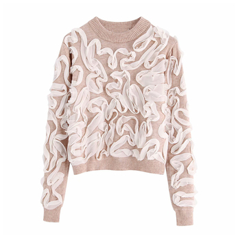 Fashion Women Knit Sweater Patchwork Lace Appliques Short Sweater Autumn Casual Round Neck Knitted Pullover Loose Female Jumper loose knit drop shoulder jumper