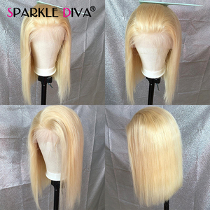 613 Blonde Lace Front Wig Brazilian Bob Straight Human Hair Wigs For Women Transparent 13*4 Lace Front Wig 613 Honey Blonde Remy