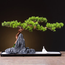 Virtual greeting pines rockery bonsai green plant decoration living room hotel porch teahouse study creative home decoration