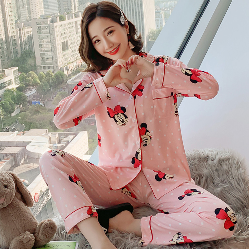 Mickey Women Pajamas Set Girl Sleepwear Minnie Pijama Long Pyjamas For Women Suit Female Mujer Clothing Set 2019 Nightwear