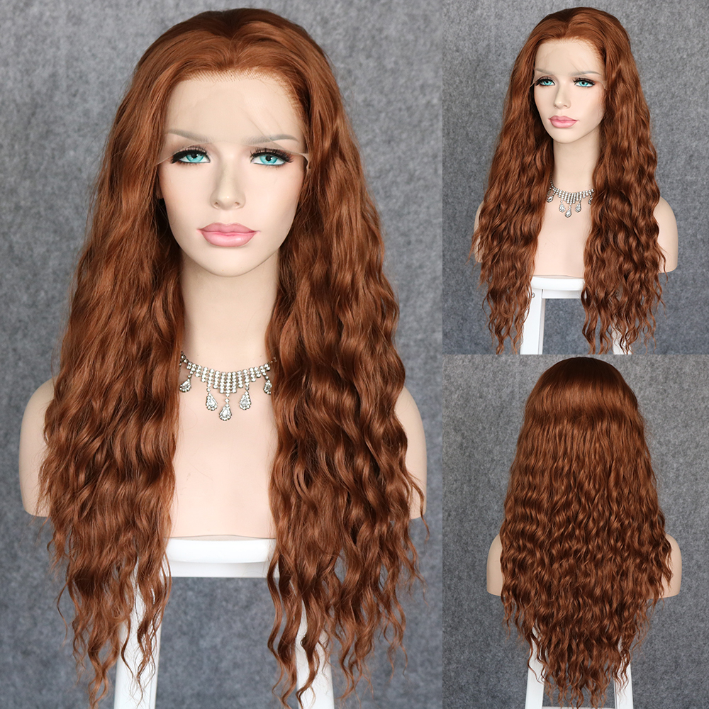 Lvcheryl Long Loose Curly Brown Hair Wigs Synthetic Lace Front Wigs For Women Natural Hairline Heat Resistant Hair Wigs