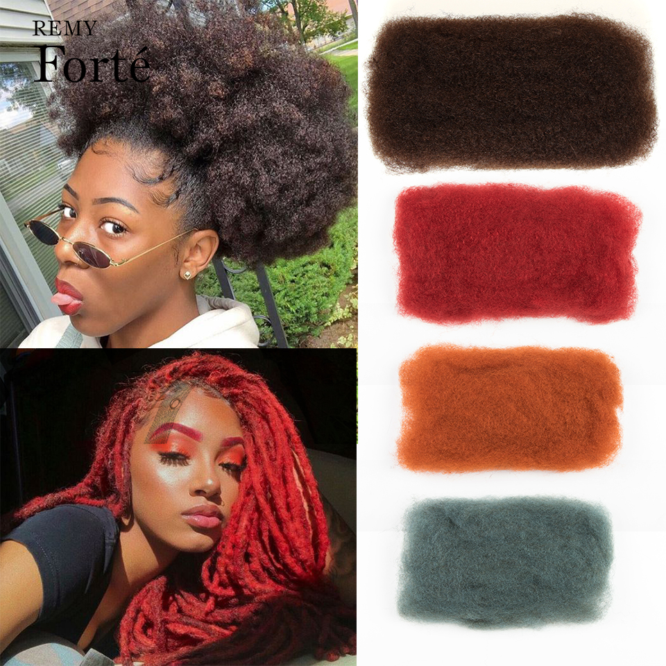 Remy Forte Orange Red Remy Hair Afro kinky Curly Bulk Human Hair For Braiding 1 Bundle 50g/pc Natural Color Braids Hair No Weft