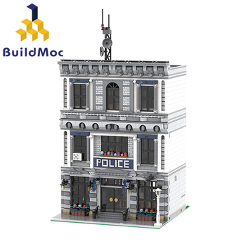 цена на BuildMOC 21474 City Police Station Motorbike Helicopter Model Building Blocks Bricks Kits Compatible with City 60047