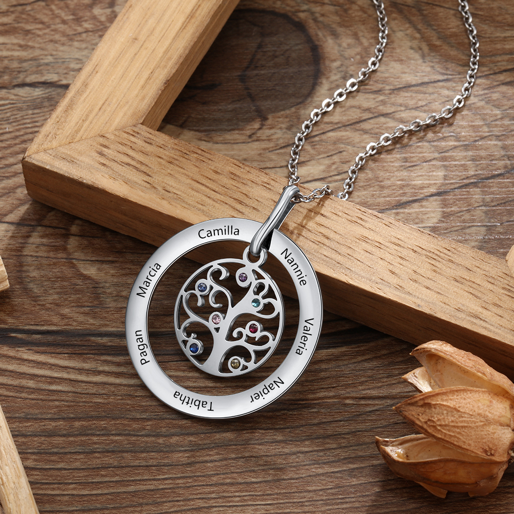 Customized Family Tree Mother Necklace With 7 Birthstones Engraved Name Tree Of Life Pendant Necklaces For Women Mom Grandma