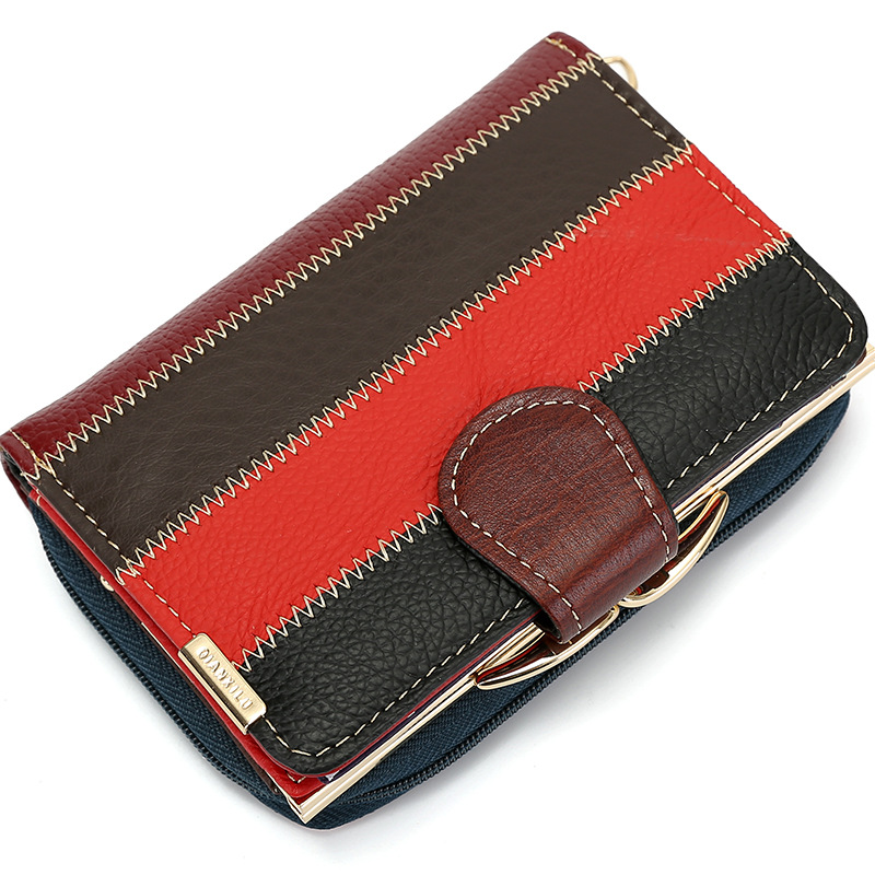 Fashion Patchwork Genuine Leather Women Short Wallets Coin Pocket Credit Card Wallet Female Purses Money Clip Multicolour