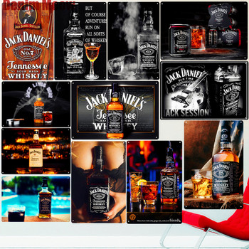 Jack Wine Whiskey Vintage Metal Tin Sign Pub Bar Casino Home Decor Beer Advertising Plate Painting Poster Wall Art Sticker ZSS36