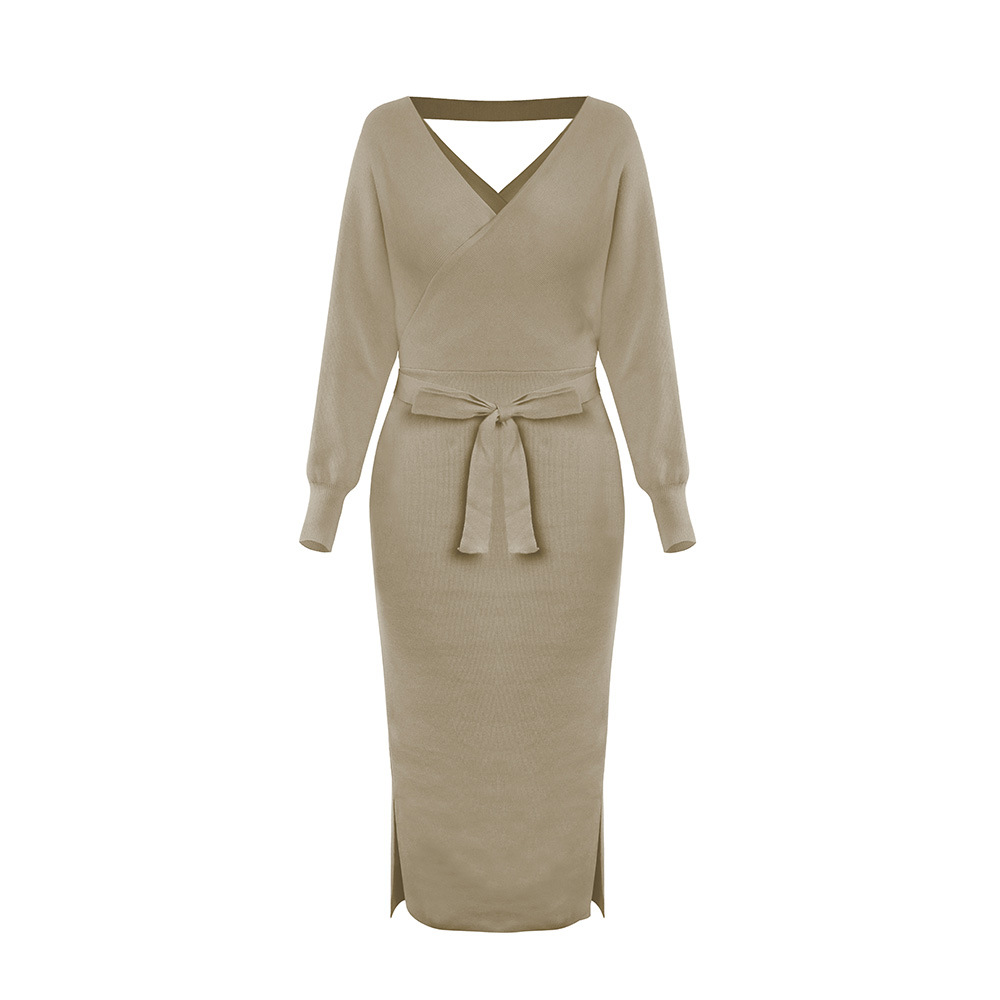 Long Sleeve V Neck With Cross Belt Sweater Knitted Dress 32