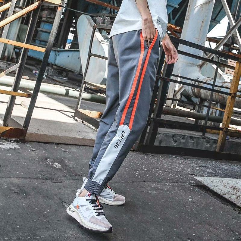 Autumn New Style Men's Casual Athletic Pants Beam Leg Slim Fit Students Harem Pants Stickers Trend Stripes Capri Pants