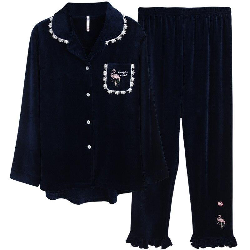 Pajamas Women Elegant Lace Trim Lapel Pocket Flamingo Printing Ruffle Pants Velvet Fleece Pajama Royal Blue Pijama Pj Set Winter