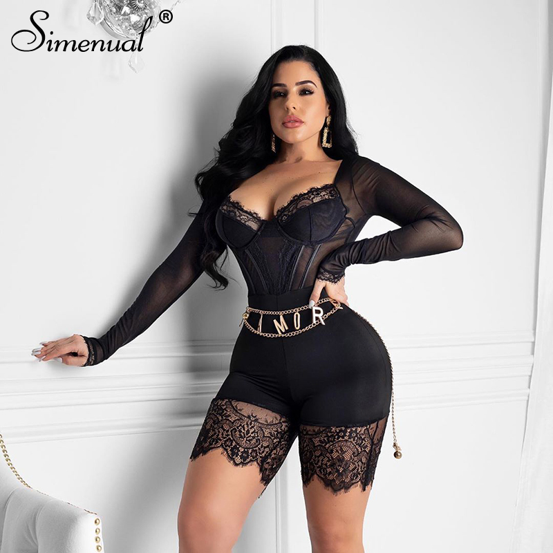 Simenual Sexy Lace Mech Patchwork Rompers Womens Jumpsuit Long Sleeve Transparent Skinny Bodycon N Neck Playsuits Fashion Spring