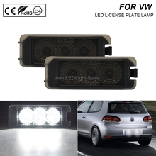 цена на A Pair LED Number License Plate Smoke Lights Number Plate Holder Lamp No Error For VW Golf 4 Golf 5 Golf 6 Golf 7 Eos 06-09