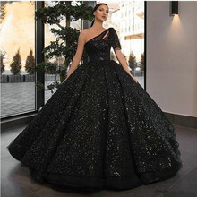 2020 Sparkly Glitter Sequin Prom Dresses One Shoulder Black