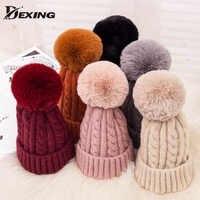 Chapeau d'hiver en laine pompon fourrure rose pour femmes chapeau fille tricoté rayé Skullies bonnets épais chaud femme faux Pom pom chapeau pour dame