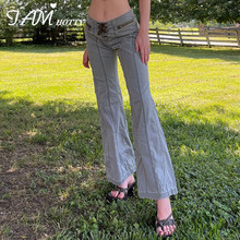 Lace Up Low Waist Baggy Flared Jeans Women Striped Zipper Casual Denim Trousers Mom Street Vintage Jeans Korean Pants Iamhotty