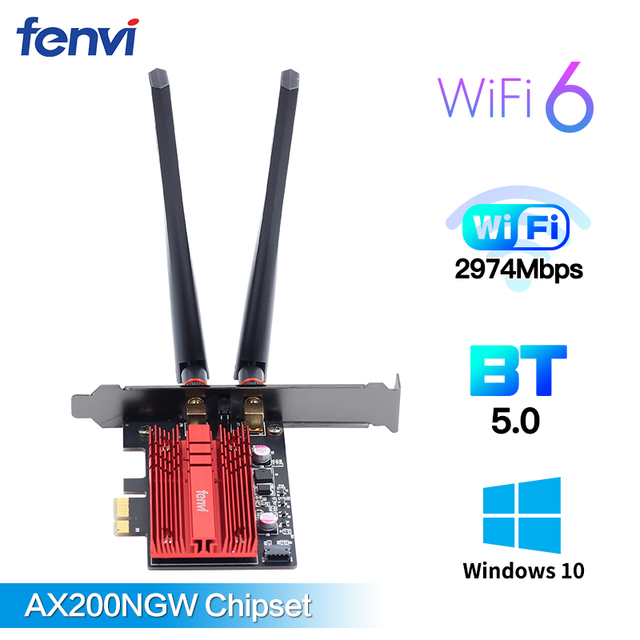 Bureau sans fil pour Wi-Fi 6 AX200 carte Bluetooth 5.0 double bande 2400Mbps PCIe adaptateur Wifi AX200NGW 802.11ax Windows 10