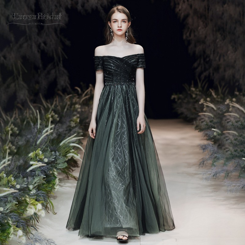 Deep Green Prom Dresses A Line Off Shoulder Tulle Elegant Sexy Party Maxys Long Prom Gown Evening Dresses Robe De Soiree JQ660