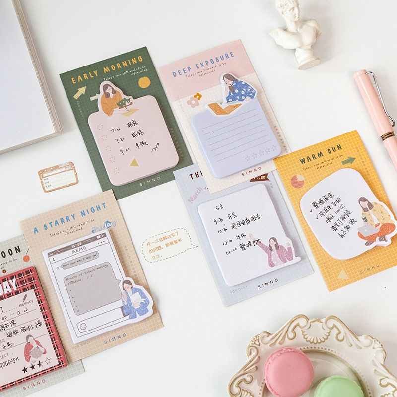 Workplace Small Person Series Memo Pads N Times Sticky Notes Index Paper Divider Stickers Self-adhesive Sticky Paper Bookmark