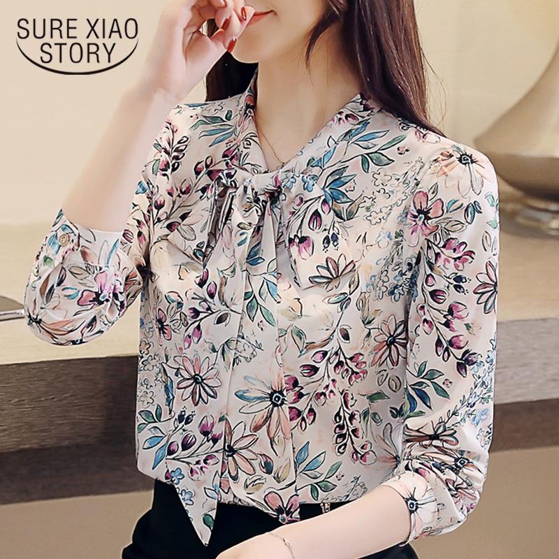 fashion womens tops and blouses 2020 new print chiffon blouse shirt bow V collar office blouse long sleeve women shirts 2432 50 1