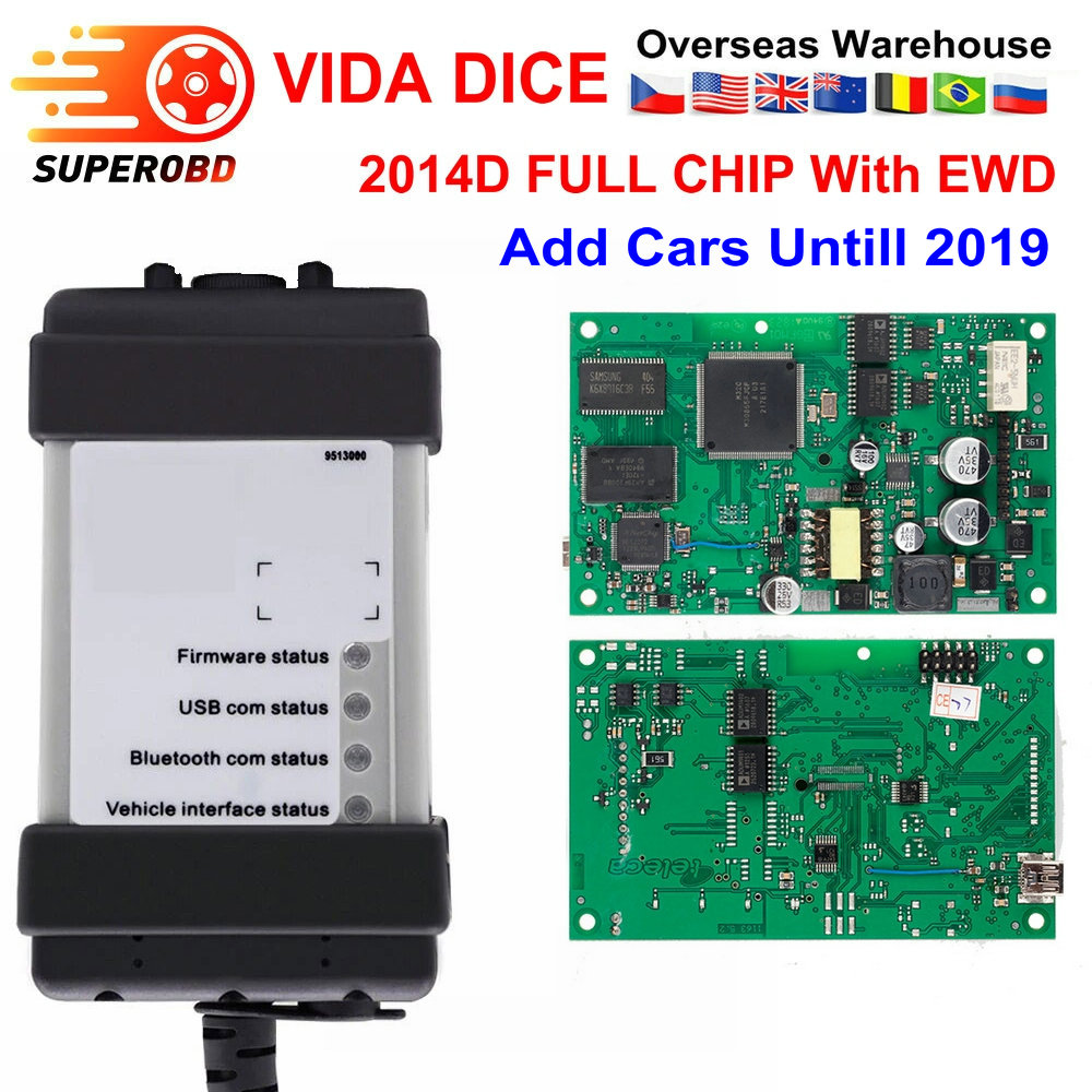 VIDA DICE Full Chip For Volvo Vida Dice  2014D Add Cars To 2019 Diagnostic Tool Multi-Language Green Board Vida Dice With EWD