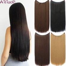 AILIADE женские невидимые рыбий линии волосы для наращивания длинные натуральные прямые волосы термостойкие синтетические волосы 22 дюйма