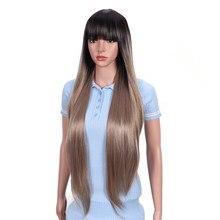Bella peruca longa reta do cabelo sintético para a cor rosa loira preta browm cor densidade natural peruca resistente ao calor com franja