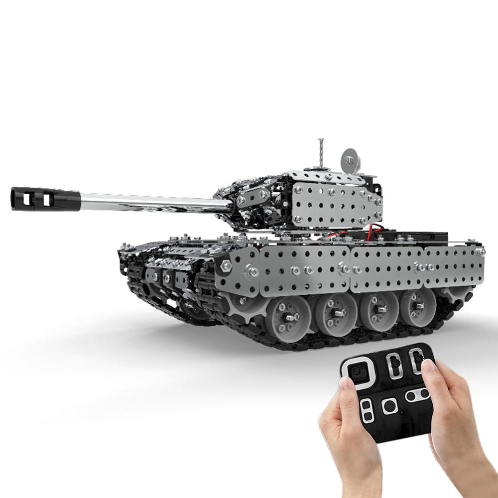 952Pcs 1:16 Stainless Steel RC Tank Vehicle Model Building Kits Block DIY Small Particle Construction Model Toy SW(RC)-006