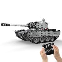 952Pcs 1:16 Stainless Steel RC Tank Vehicle Model Building Kits Block DIY Small Particle Construction Model Toy SW(RC) 006