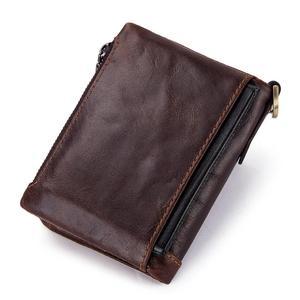 Image 2 - 100% prawdziwej skóry portfel męski monety kiesy małe mini etui na karty łańcuch PORTFOLIO Portomonee mężczyzna Walet kieszeni jakości