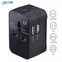 Universal Worldwide All in One Phone Charger Travel Wall AC Power Plug Adapter with Dual USB Charging Ports for USA EU UK AU(China)